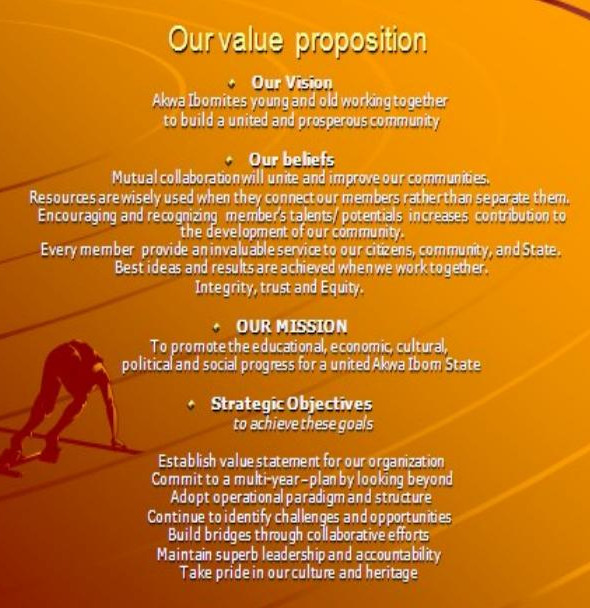 Value Proposition of the Akwa Ibom State Association of Nigeria (USA), Inc.
